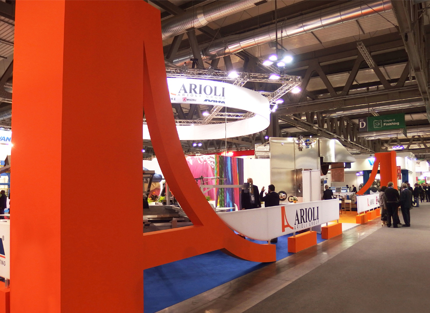 Arioli exhibition stand at ITMA designed by Axis Design Maior (AD Maior)