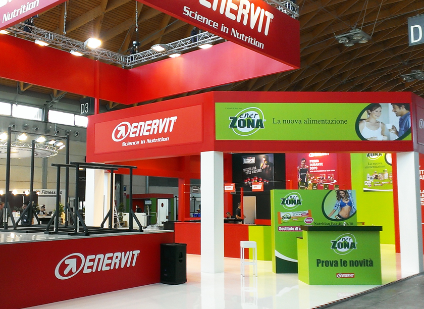 Enervit exhibition stand at Wellness in Rimini designed by Axis Design Maior (AD Maior)