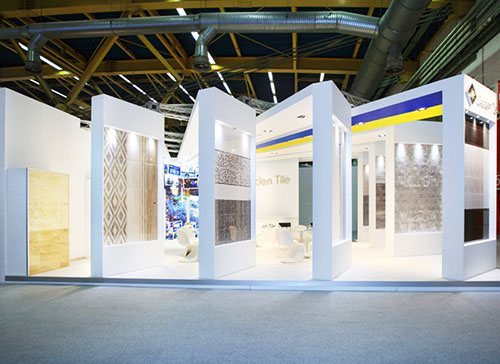 Golden Tile exhibition stand at Cersaie in Bologna designed by Axis Design Maior (AD Maior)