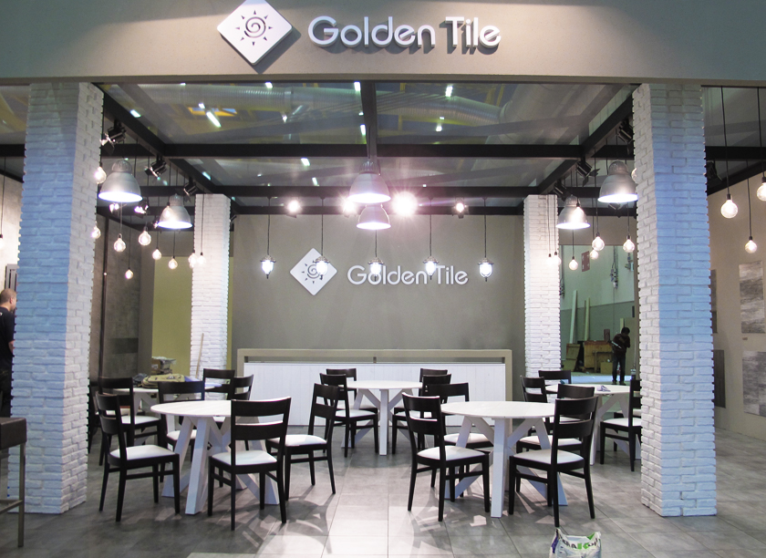 Golden Tile exhibition stand at Cersaie in Bologna 2013 designed by Axis Design Maior (AD Maior)