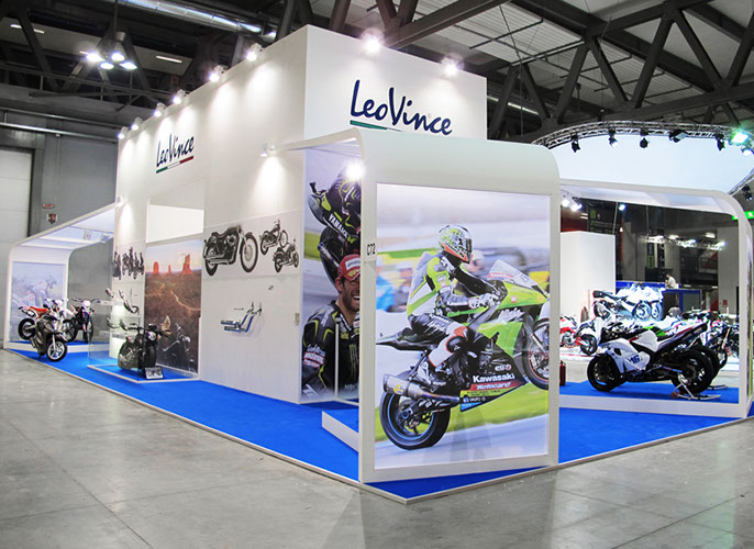 Leo Vince exhibition stand at EICMA in Milan 2012 designed by Axis Design Maior (AD Maior)