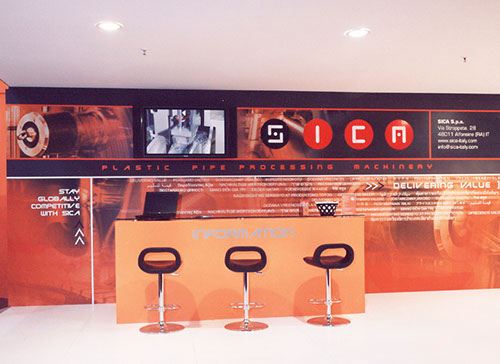 Sica exhibition stand at PLAST designed by Axis Design Maior (AD Maior)