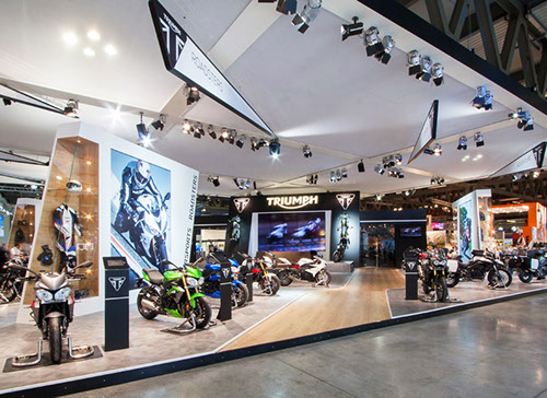Triumph exhibition stand at EICMA designed by Axis Design Maior (AD Maior)