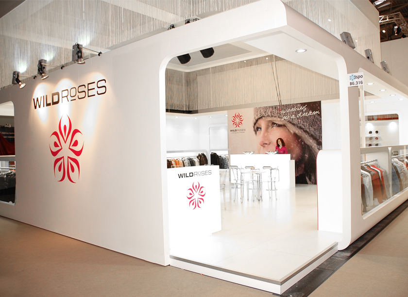 Wild Roses exhibition stand at ISPO in Munich designed by Axis Design Maior (AD Maior)